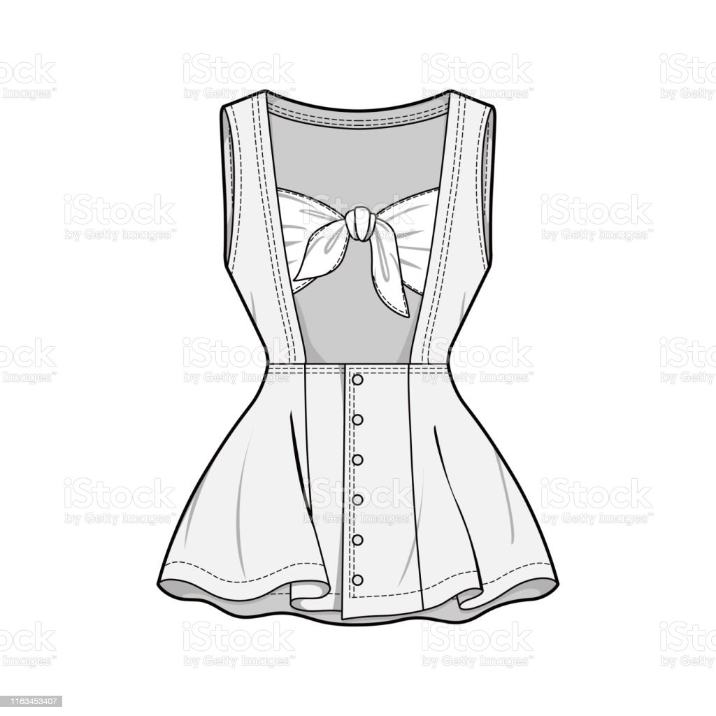 Dress Fashion Flat Sketch Template Stock Illustration Download Image Now Istock