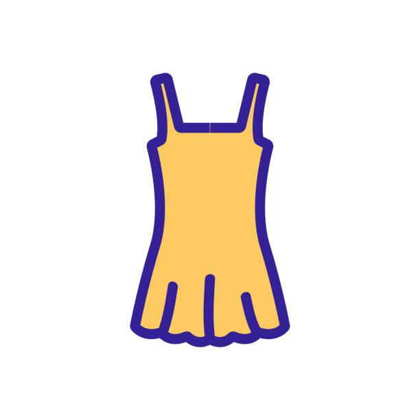 stockillustraties, clipart, cartoons en iconen met jurk voor zwemmen icoon vector overzicht illustratie - verleiding