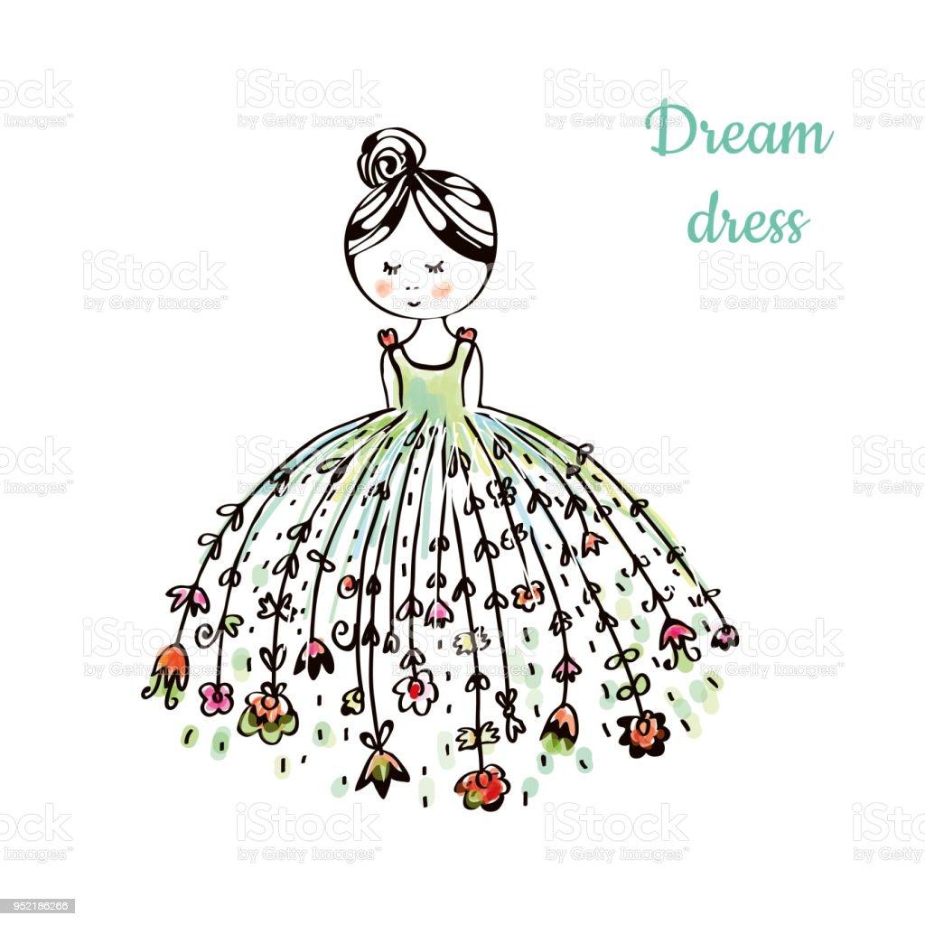 Ilustración De Vestido Para La Ilustración De Dibujo De Moda