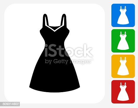 Dress Icon. This 100% royalty free vector illustration features the main icon pictured in black inside a white square. The alternative color options in blue, green, yellow and red are on the right of the icon and are arranged in a vertical column.