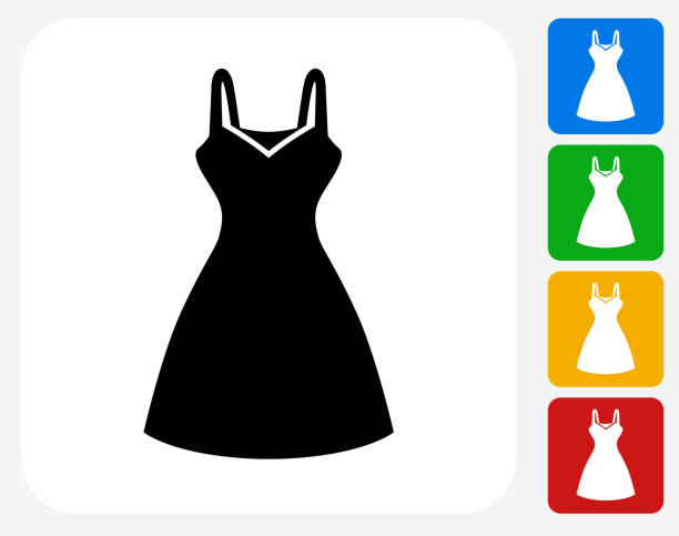 bildbanksillustrationer, clip art samt tecknat material och ikoner med dress icon flat graphic design - klänning
