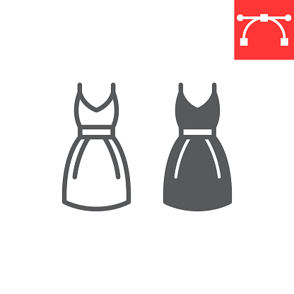 Dress line glyph icon, fashion and clothing, dress vector icon, vector graphics, editable stroke outline sign, eps 10.