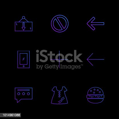istock dress , message , not allowed ,  burger , user interface icons , arrows , navigation , eps icons set vector 1014961088
