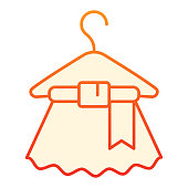 istock Dress on hanger flat icon. Wet dress red icons in trendy flat style. Dry cleaning gradient style design, designed for web and app. Eps 10. 1209514858