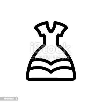 istock Dress princess icon vector. Isolated contour symbol illustration 1196965719