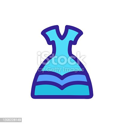 istock Dress princess icon vector. Isolated contour symbol illustration 1205228149
