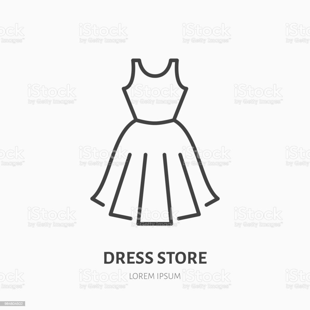 Ilustração de Ícone De Linha Plana De Loja De Vestido Vestuário De ... 11b3fcf18f2