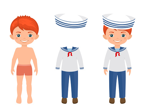 Dress up cute boy in sailor suit. Paper doll character template.Cartoon flat style
