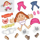 Part of a collection of Paper doll girls with lots of assorted clothes to change her looks. This is a little Snow Girl, with a snow suit,snow hat, pants, shoes, boots, mittons, warm coat, tank top and sweater, long sleeved blouse and slippers. She is interchangeable with other dolls in the collection.