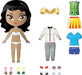 Beautiful vector dress up paper doll body template with nice set of clothes