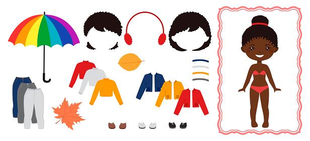 Dress up paper dolls. Cute chibi girl character. Flat cartoon style.