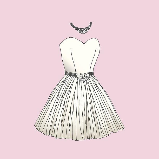 dress - prom fashion stock illustrations, clip art, cartoons, & icons