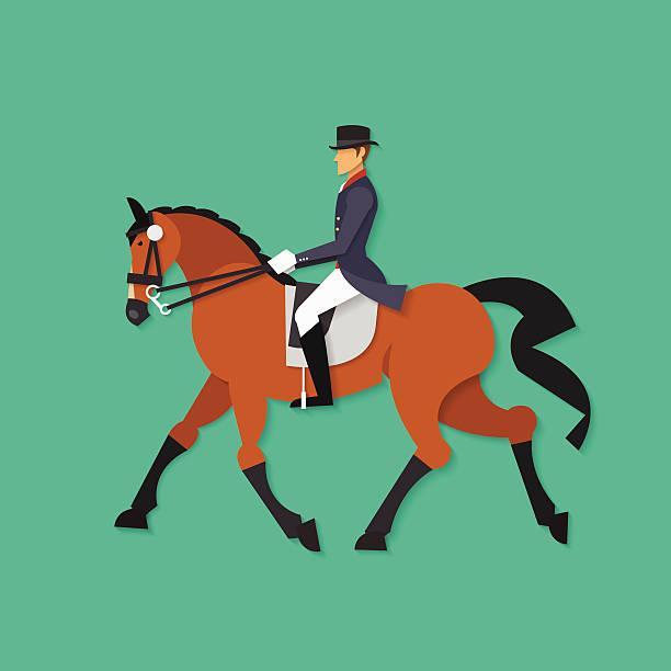 dressurreiten pferd und reiter, reitsport-sport - reiter stock-grafiken, -clipart, -cartoons und -symbole