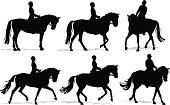 Detailed vector silhouettes of a person riding a horse in walk, trot and canter/gallop during an English riding lesson.