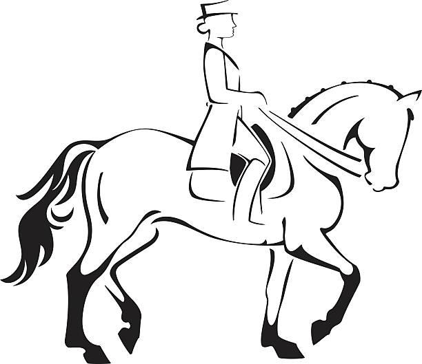 dressurreiten horse & fahrer line art - reiter stock-grafiken, -clipart, -cartoons und -symbole