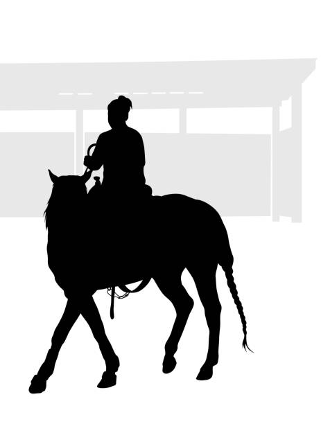 dressage - clip art of a black and white barn stock illustrations, clip art, cartoons, & icons