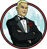 Vector Illustration of a well dressed man in a tuxedo at some sort of social engagement. File saved in layers.