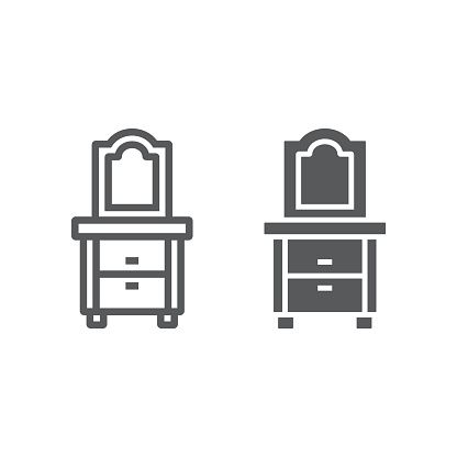 Dresser line and glyph icon, home and furniture, cabinet sign, vector graphics, a linear pattern on a white background.