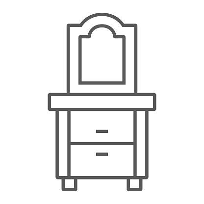 Dresser thin line icon, home and furniture, cabinet sign, vector graphics, a linear pattern on a white background.
