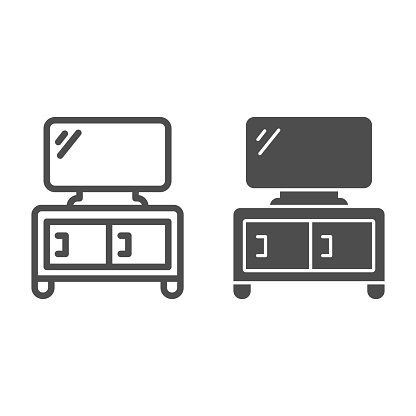 Dresser with TV line and solid icon, Furniture concept, home decor with plasma sign on white background, TV stand icon in outline style for mobile concept and web design. Vector graphics.