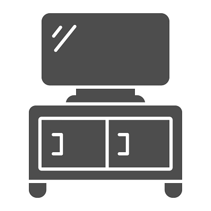 Dresser with TV solid icon, Furniture concept, home decor with plasma sign on white background, TV stand icon in glyph style for mobile concept and web design. Vector graphics.
