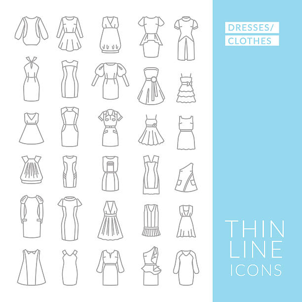 bildbanksillustrationer, clip art samt tecknat material och ikoner med dresses and clothes. set with thin line icons - klänning