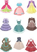 Set of cute dresses for cosplay isolated on white background