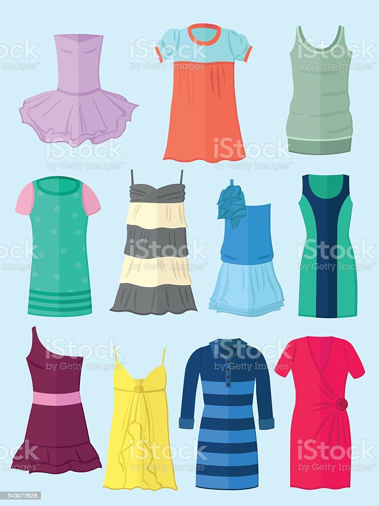 Dresses in flat design vector art illustration
