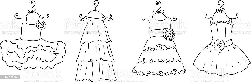 Ilustración De Vestidos De Diferentes Para Colorear En Perchas Y Más