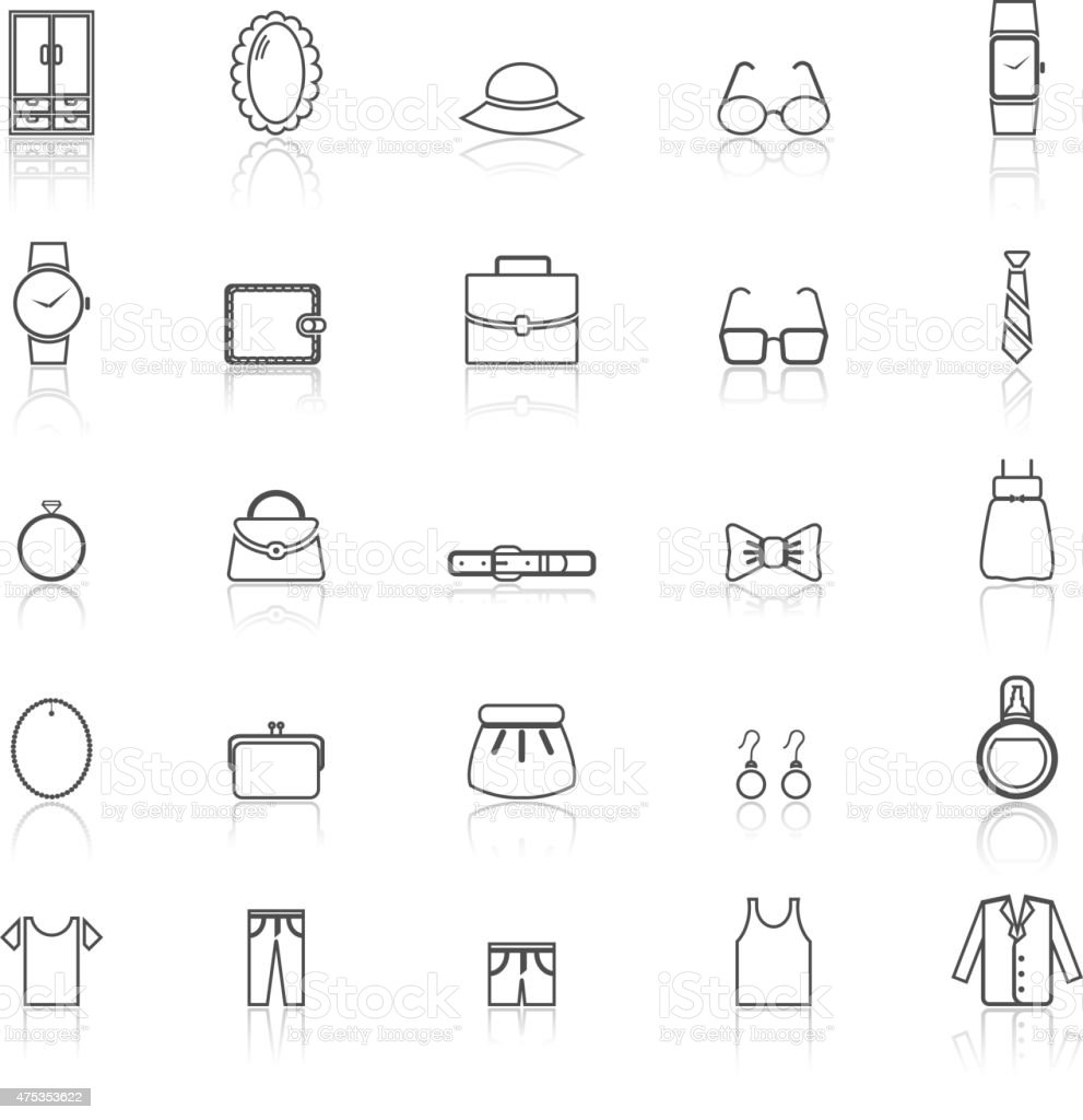 Dressing line icons with reflect on white vector art illustration