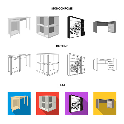 Dressing table, corner shelves, computer desk, wardrobe with glass. Bedroom furniture set collection icons in flat,outline,monochrome style vector symbol stock illustration web.