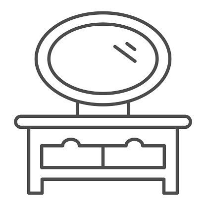 Dressing table thin line icon, interior design concept, bedside table with mirror sign on white background, mirror on the curbstone icon in outline style for mobile concept. Vector graphics.