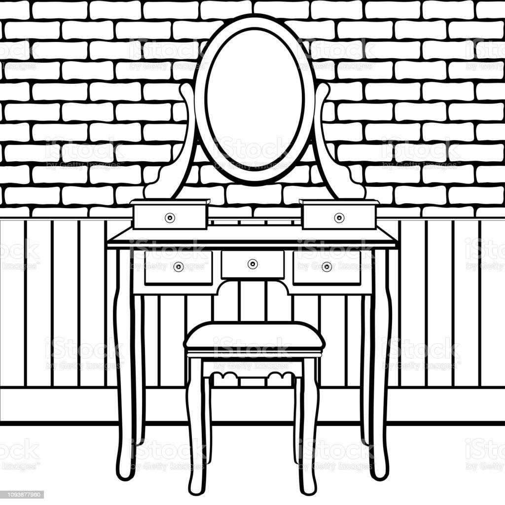 Vetores De Penteadeira Com Espelho Quarto Feminino Para Aplicar