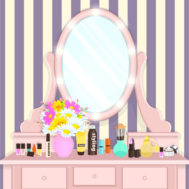 Dressing table with mirror with lights, female boudoir for applying makeup, flat drawing, vector illustration Dressing table with mirror with lights, female boudoir for applying makeup, flat drawing, vector illustration. Pink table and mirror with light bulbs and with cosmetics and flowers in vase in room dollhouse stock illustrations