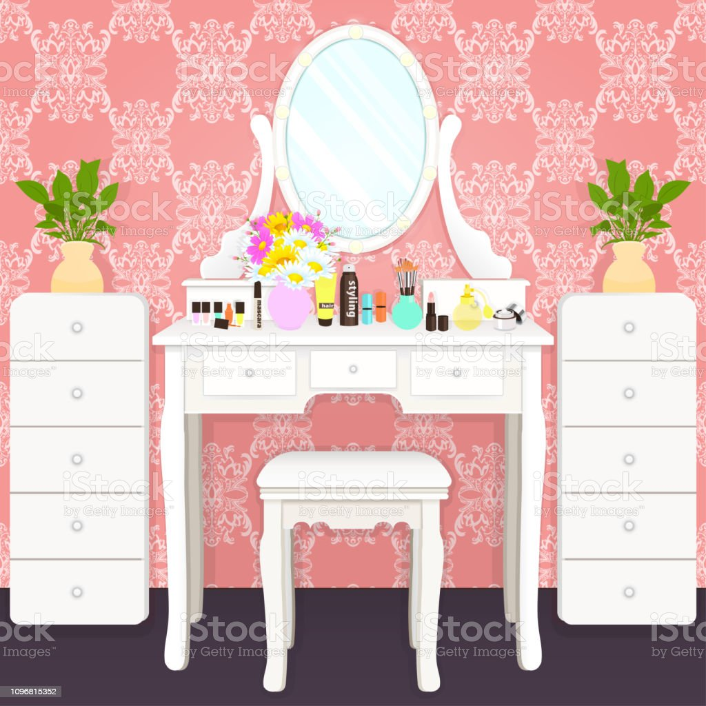 Dressing table with mirror with lights, female boudoir for makeup,...