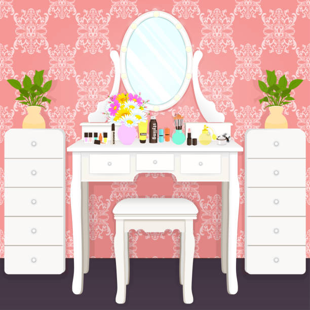 Dressing table with mirror with lights, female boudoir for makeup, flat drawing, vector illustration. White table and mirror with light bulbs and cosmetics in room Dressing table with mirror with lights, female boudoir for makeup, flat drawing, vector illustration. White table and mirror with light bulbs and cosmetics in room with pink wallpaper with ornament dollhouse stock illustrations