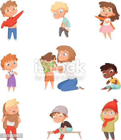 Dressing up kids. Children changing clothes dresses and pants with shoes vector pictures set. Child clothing, clothes collection for boy and girl illustration