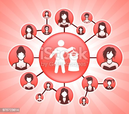 Dressing Up  Women's Rights Pink Vector Background. The main icon depicted in this image is placed on a pink round button in the center of the illustration, It is surrounded by a set of smaller buttons with faces of women of various backgrounds and age groups. The buttons are interconnected and form a network that can represent women's rights and other concepts associated with the power of women and equality in the modern society.