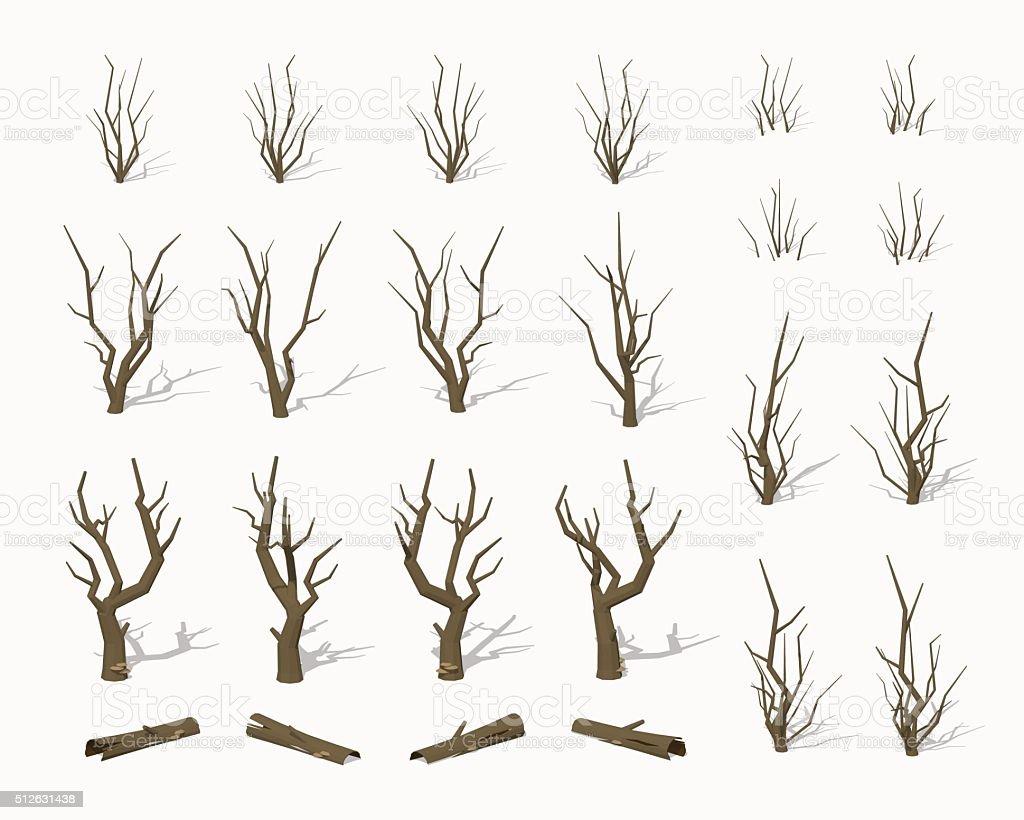 Dried dead trees vector art illustration