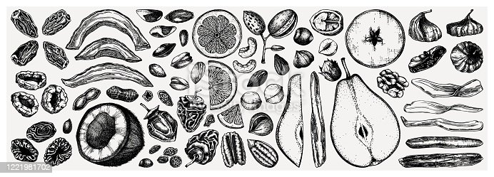 Dried fruits and nuts collection. Hand drawn dehydrated fruits sketches. Vintage nuts illustrations. For vegan food, snacks, healthy breakfast, granola, baking, desserts.