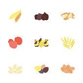 Dried Fruits Flat Icons Set