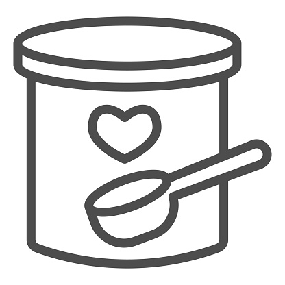 Dried milk and spoon line icon. Baby food in a plastic can with small spoon outline style pictogram on white background. Childrens nutrition for mobile concept and web design. Vector graphics.