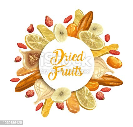 istock Dried tropical fruits round vector banner or frame 1292686425