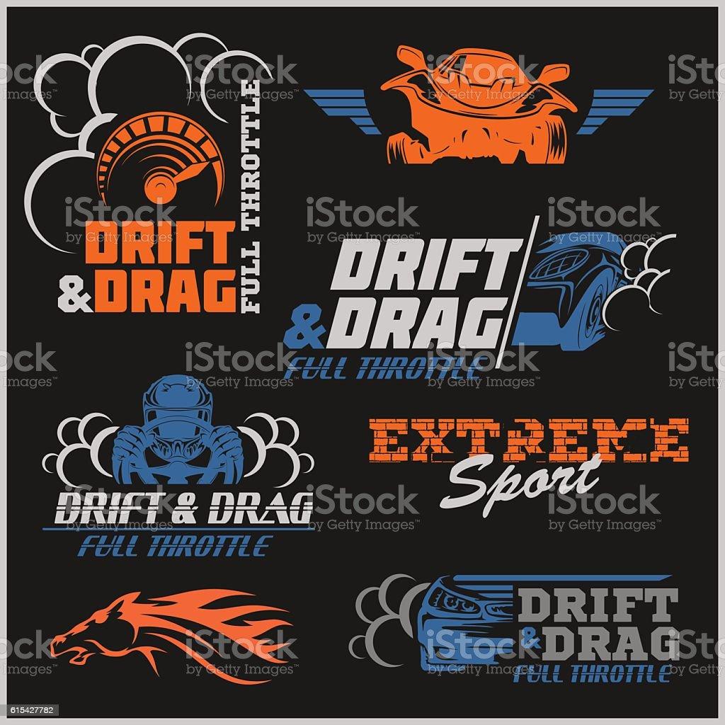 Drift, Drag racing, Tuning, Motor Sport - Set of  cars – Vektorgrafik