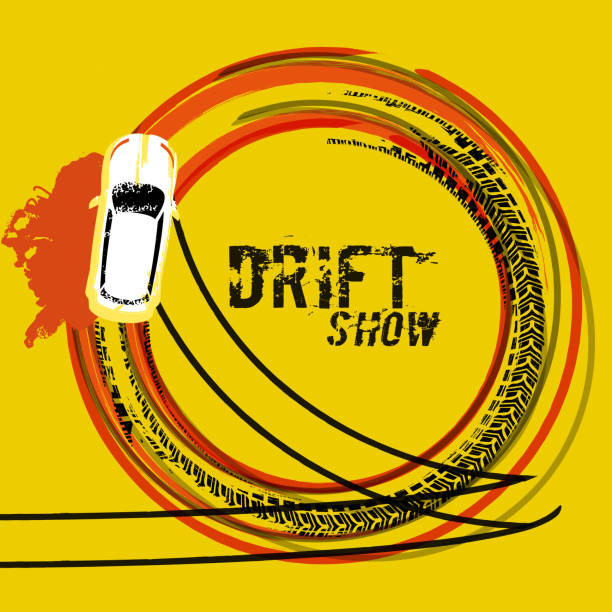 Drift Show Image Drifting car top view. Beautiful vector illustration in grunge style. Automotive image in orange, black and yellow colors useful for posters, banners, prints and leaflets graphic design. snowdrift stock illustrations