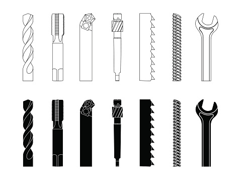 Drill bit screw-cutter milling cutter saw armature wrench vector illustration set