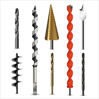 Drill bits and auger for various types materials.