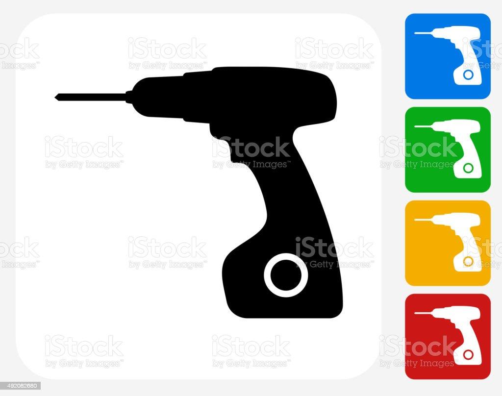 Drill Icon Flat Graphic Design vector art illustration