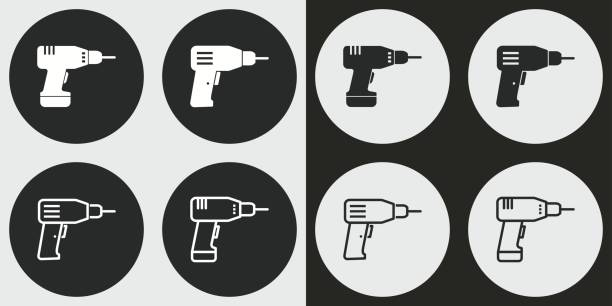 Drill icon set. Drill vector icons set. Illustration isolated for graphic and web design. cordless phone stock illustrations