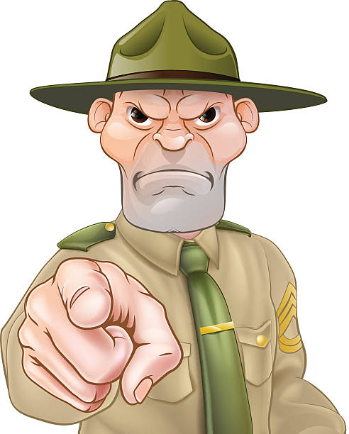 Drill Sergeant Pointing Angry cartoon army boot camp drill sergeant pointing sergeant stock illustrations